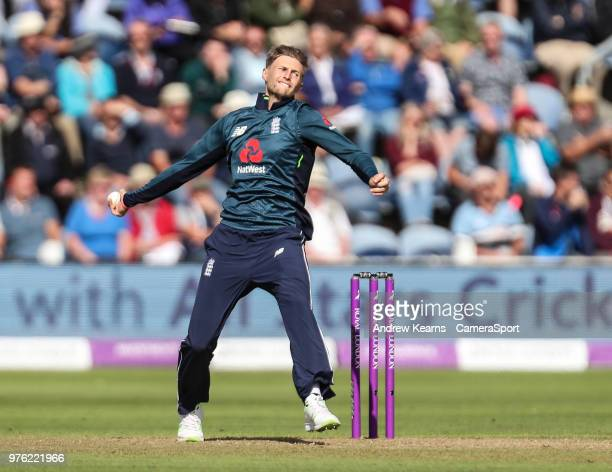 England's Joe Root in delivery stride during the Royal London OneDay Series 2nd ODI between England and Australia at Sophia Gardens on June 16 2018...