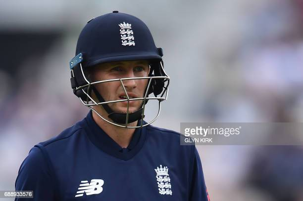 England's Joe Root leaves the pitch after losing his wicket during the second OneDay International between England and South Africa of the South...