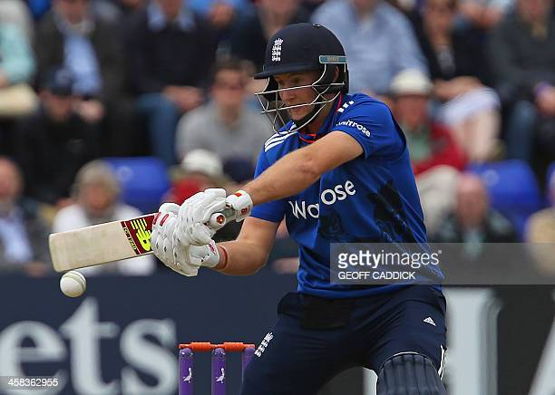 England's Joe Root plays a shot during play in the fifth one day international cricket match between England and Sri Lanka at the SSE SWALEC Stadium...