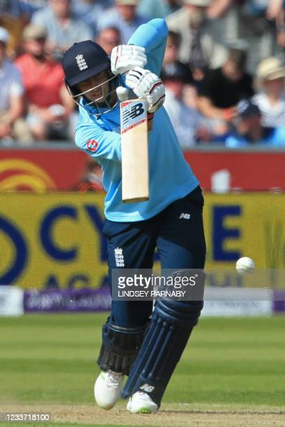 England's Joe Root plays a shot during the first one-day international between England and Sri Lanka at Riverside Ground, Chester-le-Street, north...