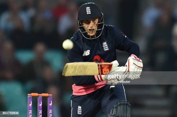 England's Joe Root plays a shot during the fourth OneDay International cricket match between England and the West Indies at the Oval in London on...