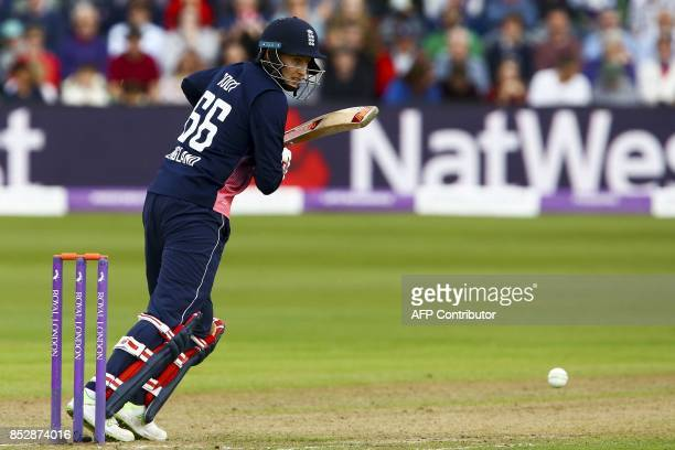 England's Joe Root plays a shot during the third one day international cricket match played between England and the West Indies at the Brightside...