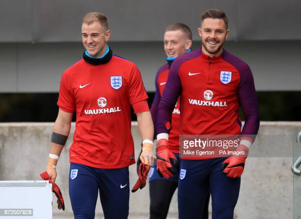 England's Joes Hart Jordan Pickford and Jack Butland during a training session at St George's Park Burton
