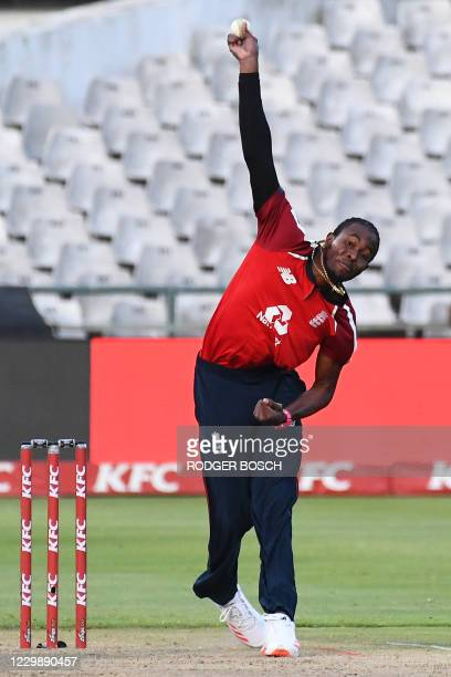 England's Jofra Archer delivers a ball during the third T20 international cricket match between South Africa and England at Newlands stadium in Cape...