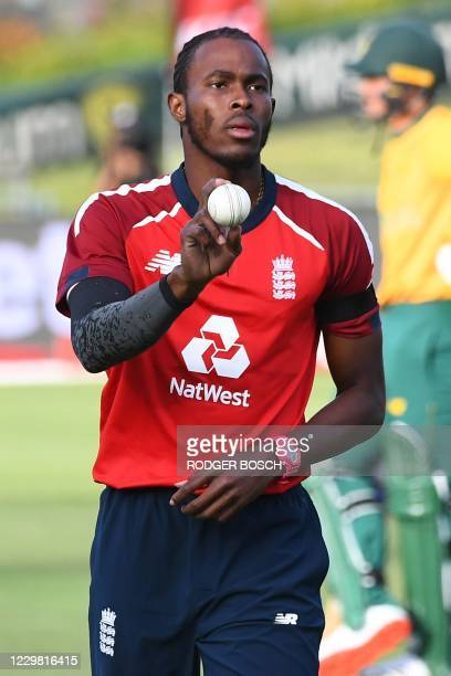 England's Jofra Archer prepares to deliver a ball during the first T20 international cricket match between South Africa and England at Newlands...