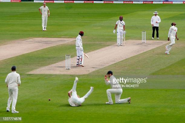 England's Jofra Archer reacts to a dropped catch in the slips on the second day of the third Test cricket match between England and the West Indies...