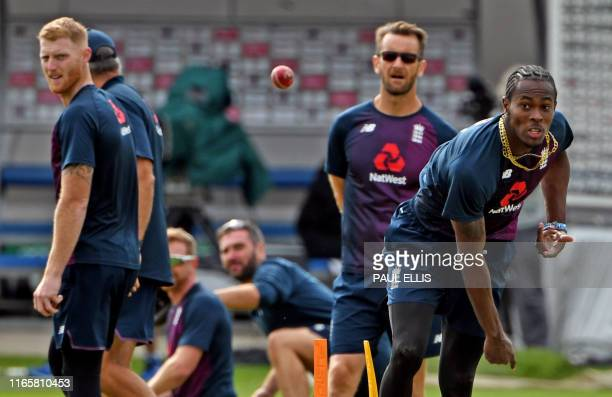 England's Jofra Archer takes part in a training session at Old Trafford in Manchester northwest England on September 3 2019 on the eve of the start...