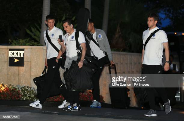 England's John Stones and Leighton Baines arrive at the Mandarin Oriental Hotel in Miami USA