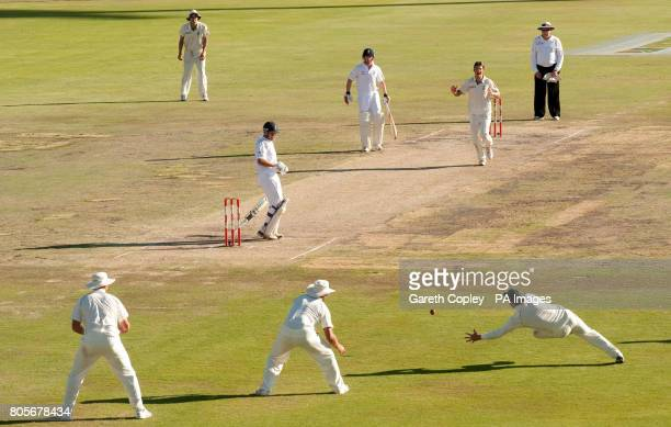 England's Jonathan Trott edges the ball to be caught out by South Africa's AB deVilliers from the bowling of Friedel de Wet during the First Test at...