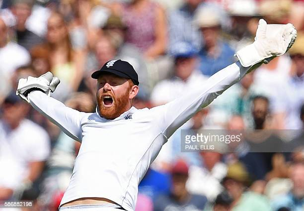 England's Jonny Bairstow appeals unsuccessfully during play on the final day of the third test cricket match between England and Pakistan at...