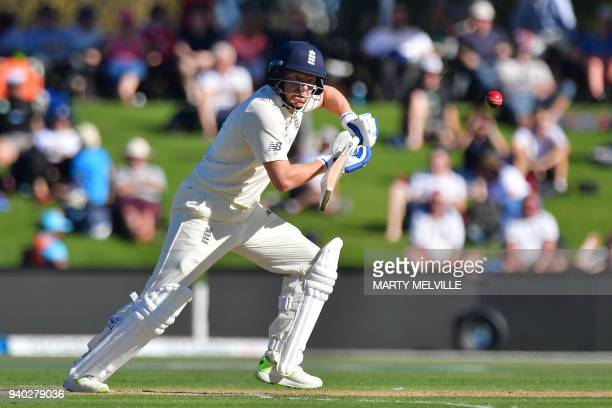 England's Jonny Bairstow bats during day two of the second cricket Test match between New Zealand and England at Hagley Oval in Christchurch on March...