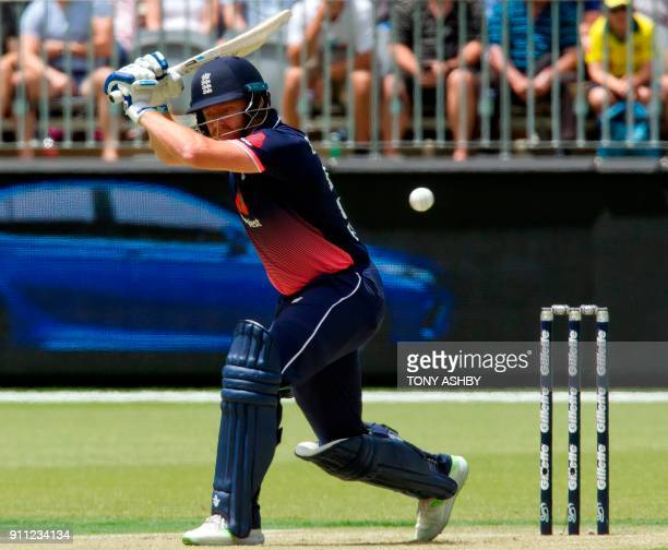 England's Jonny Bairstow bats during the fifth oneday international cricket match between England and Australia at the Optus Perth stadium in Perth...