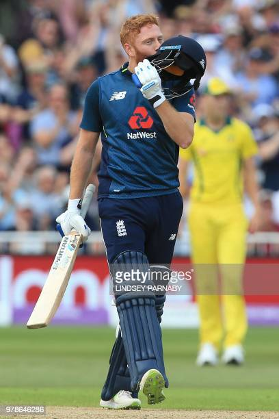 England's Jonny Bairstow celebrates his century during the third One-Day International cricket match between England and Australia at Trent Bridge...