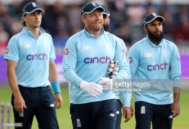 England's Jonny Bairstow celebrates taking the final wicket during the third one-day international between England and Sri Lanka at Bristol County...