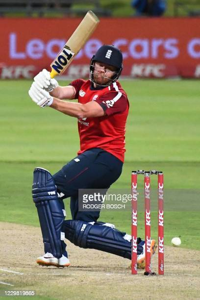 England's Jonny Bairstow misses a shot during the first T20 international cricket match between South Africa and England at Newlands stadium in Cape...
