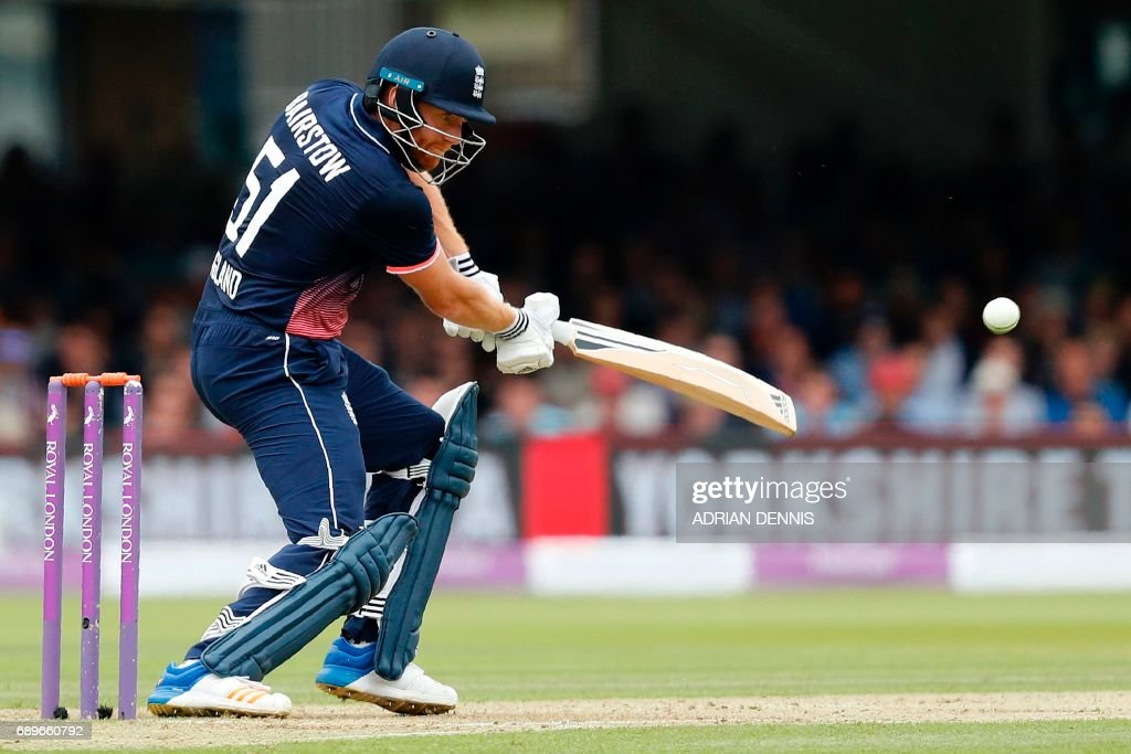 England's Jonny Bairstow plays a shot during the third One-Day International (ODI) cricket match between England and South Africa at Lord's Cricket Ground in London on May 29, 2017. / AFP PHOTO / Adrian DENNIS
