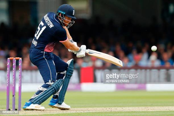England's Jonny Bairstow plays a shot during the third OneDay International cricket match between England and South Africa at Lord's Cricket Ground...