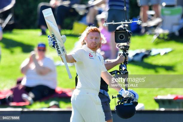 England's Jonny Bairstow walks from the field at the end of England's first innings during day two of the second cricket Test match between New...