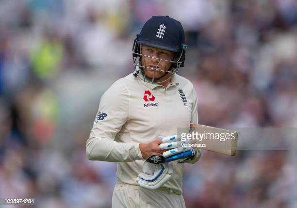 England's Jonny Bairstow walks off the pitch at the end of his innings during the 5th Specsavers Test Match between England and India at The Kia Oval...