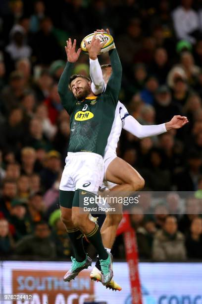 England's Jonny May challenges for the ball with South Africa's Willie La Roux during the second test match between South Africa and England on June...