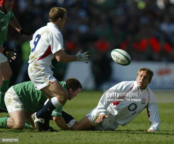 England's Jonny Wilkinson gets the ball to Matt Dawson during the RBS 6 Nations Championship decider against at Lansdowne Road Dublin