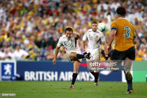 England's Jonny Wilkinson kicks the winning drop goal to clinch the Rugby World Cup for England in the final seconds of a thrilling final between...