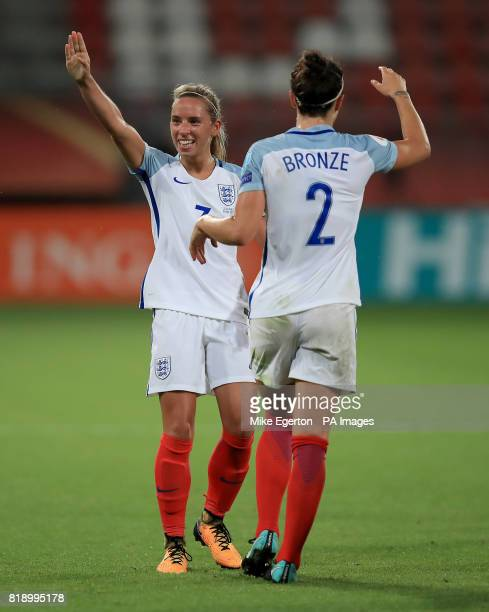 England's Jordan Nobbs celebrates scoring her sides fifth goal of the game with Lucy Bronze during the UEFA Women's Euro 2017 Group D match at...