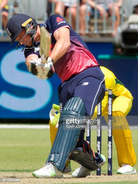 England's Jos Buttler bats during the fifth oneday international cricket match between England and Australia at the Optus Perth stadium in Perth on...