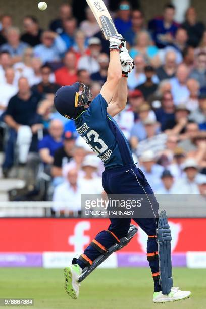 England's Jos Buttler bats during the third OneDay International cricket match between England and Australia at Trent Bridge cricket ground in...