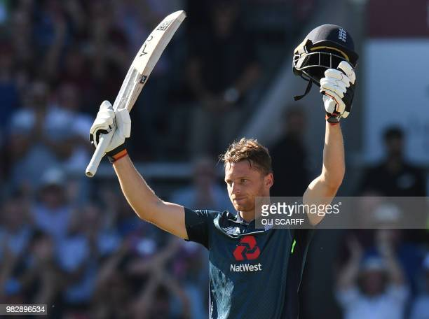 England's Jos Buttler celebrates England's victory over Australia during the fifth One Day International cricket match between England and Australia...