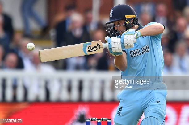 England's Jos Buttler plays a shot during the 2019 Cricket World Cup final between England and New Zealand at Lord's Cricket Ground in London on July...