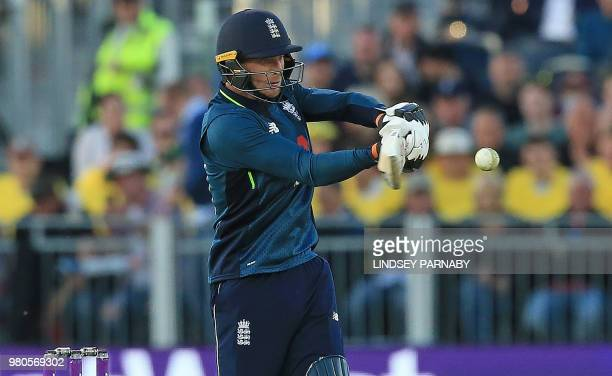 England's Jos Buttler plays a shot during the fourth One Day International cricket match between England and Australia at The Riverside in...