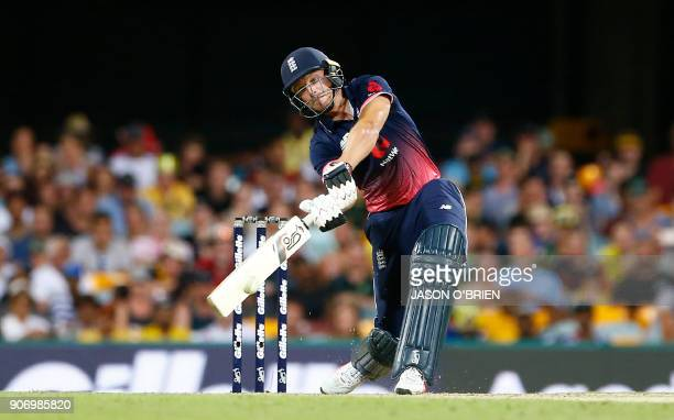 England's Jos Buttler plays a shot during the oneday international cricket match between England and Australia in Brisbane on January 19 2018 / AFP...