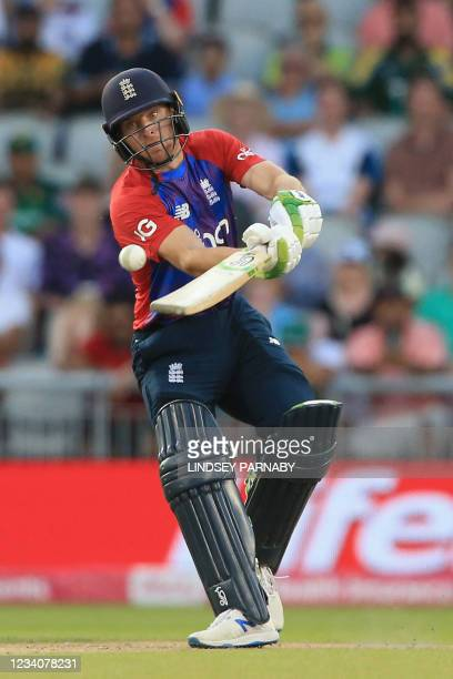 England's Jos Buttler plays a shot during the third T20 international cricket match between England and Pakistan at Old Trafford Cricket Ground in...