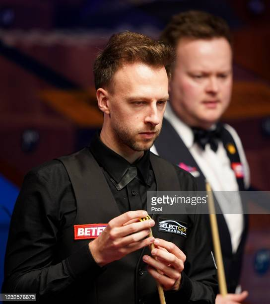 England's Judd Trump seen in his match against Shaun Murphy during day 12 of the Betfred World Snooker Championships 2021 at Crucible Theatre on...