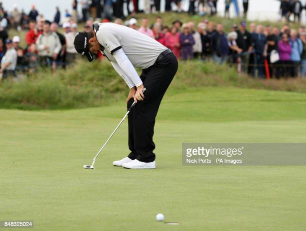 England's Justin Rose looks dejected after missing a putt during day two of the 2012 Open Championship at Royal Lytham St Annes Golf Club Lytham St...