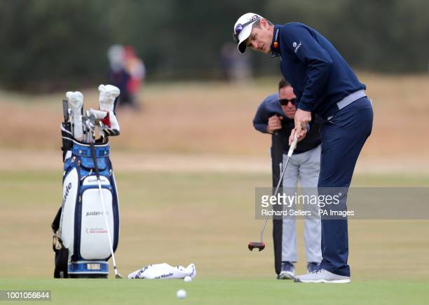England's Justin Rose putts on the 10th green during preview day four of The Open Championship 2018 at Carnoustie Golf Links Angus