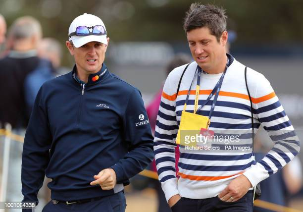 England's Justin Rose speaks to Vernon Kay during preview day four of The Open Championship 2018 at Carnoustie Golf Links Angus