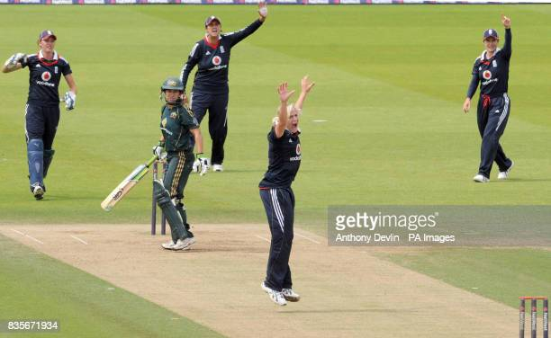 England's Katherine Brunt appeals for the wicket of Australia's Shelley Nitschke during the Fifth One Day International match at Lords' London