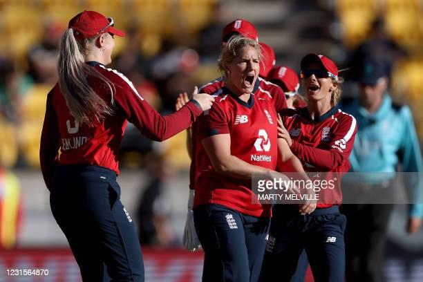 England's Katherine Brunt celebrates New Zealand's Hayley Jensen being caught with LBW during the fifth women's Twenty20 cricket match between New...