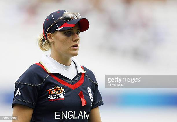 England's Katherine Brunt shows off her black eye during the Women's semi final stage of the ICC Twenty20 Cricket World Cup against Australia at the...