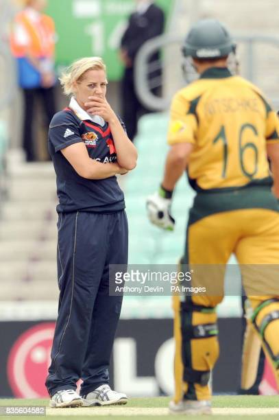 England's Katherine Brunt sporting a bruised eye looks on during the ICC Women's World Twenty20 Semi Final at The Oval London