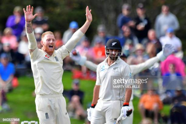 England's keeper Jonny Bairstow appeals for a catch review on New Zealand's Colin de Grandhomme during day two of the second cricket Test match...