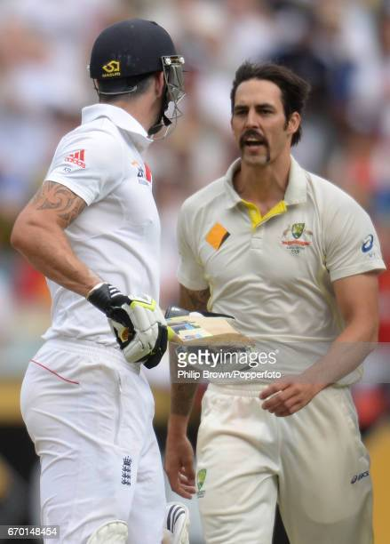 England's Kevin Pietersen and Australia's Mitchell Johnson exchange views during the 4th Ashes cricket Test match between Australia and England at...