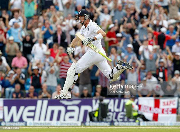 England's Kevin Pietersen celebrates after reaching 100 runs not out on day 3 of the second international test cricket match between England and...