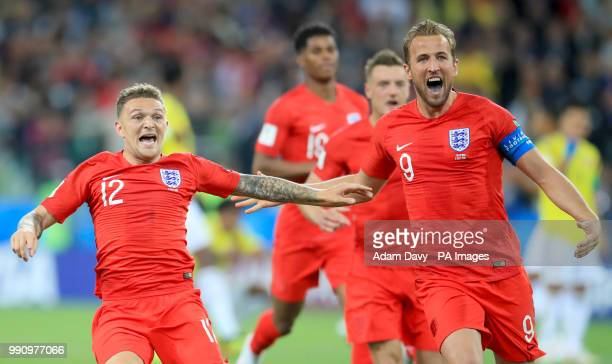 England's Kieran Trippier and England's Harry Kane celebrate their side winning the penalty shoot out during the FIFA World Cup 2018 round of 16...