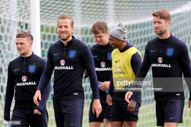 England's Kieran Trippier Harry Kane and Gary Cahill during the training session at the Spartak Zelenogorsk Stadium Zelenogorsk