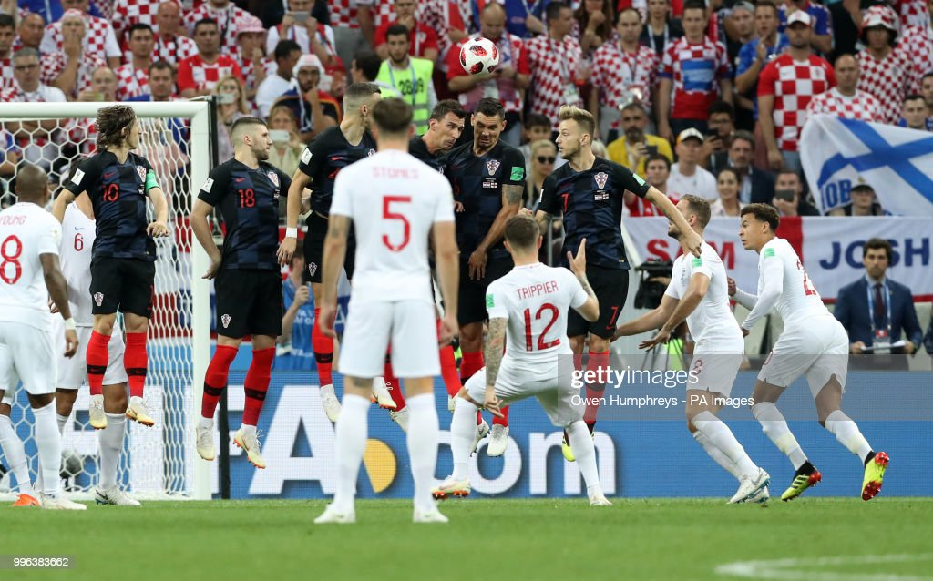 England's Kieran Trippier scores his side's first goal of the game during the FIFA World Cup, Semi Final match at the Luzhniki Stadium, Moscow.