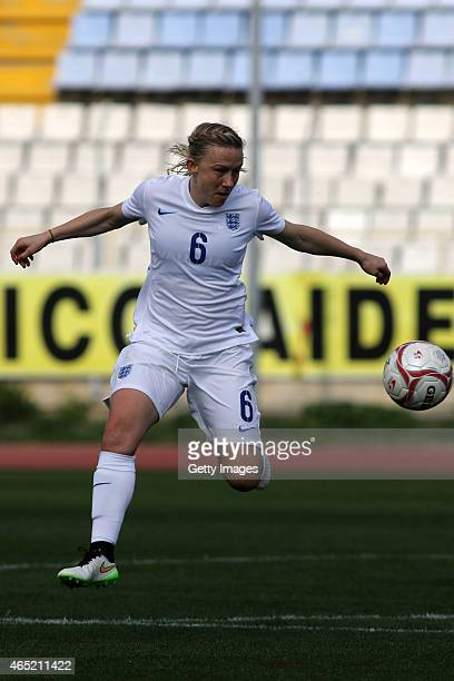 England's Laura Bassett in action during the Cyprus Cup match between England and Finland at GSZ stadium on March 4 2015 in Larnaca Cyprus