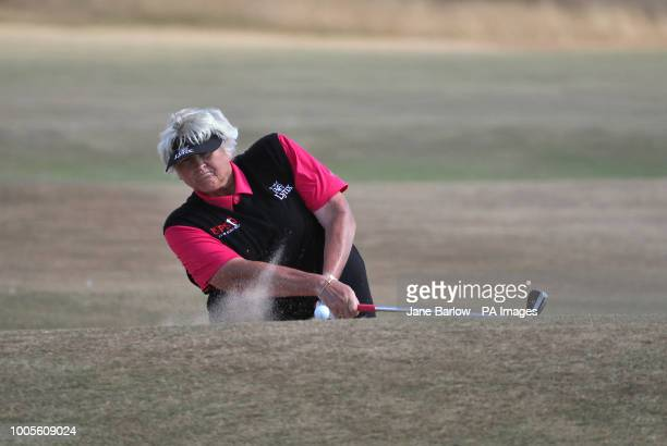 England's Laura Davies players from a bunker on the 14th hole during day one of the 2018 Aberdeen Standard Investments Ladies Scottish Open at...